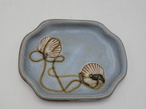Art Pottery Dish with Seashell Decoration - Signed