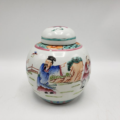 Vintage Chinese Porcelain Lidded Jar with Hand Painted Scene