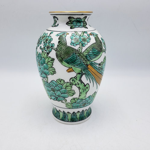 Small Green Porcelain Asian Vase with Birds