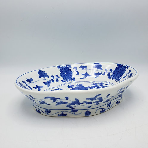 Vintage Blue and White Asian Alter Low Bowl