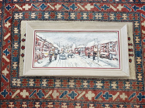 Vintage Snowy Street Scene Oil Painting on Canvas
