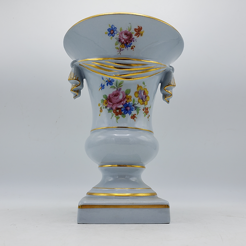 Beautiful Light Blue Hand Painted Urn Form Vase with Flower & Swag Decoration