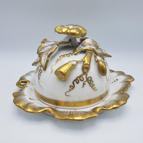 Vintage Gold and White Porcelain Butter Dish / Cheese Dome TPM