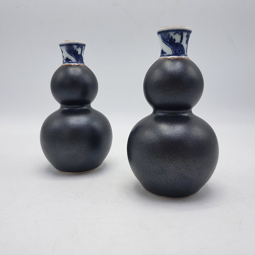 Pair of Small Asian Gunmetal Vases with Blue & White Collars