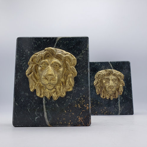 Vintage Marble Bookends with Brass Lions Heads