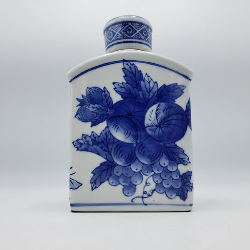 Blue & White Porcelain Lidded Jar Decorated with Fruit