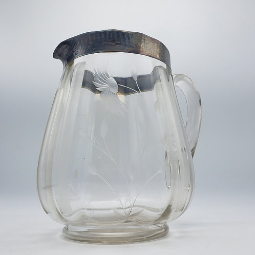 Etched Glass Pitcher With Sterling Silver Rim