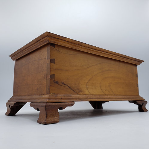 Signed Wooden Dovetailed Box with Hinged Lid