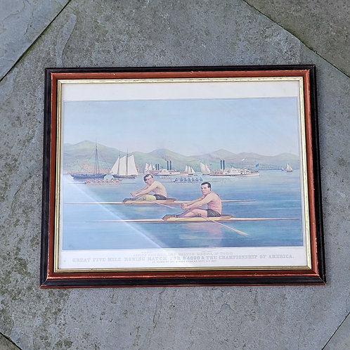 Great Five Mile Rowing Match Currier & Ives Print