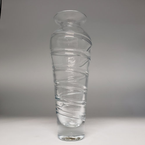 Vintage Art Glass Vase with Applied Swirl
