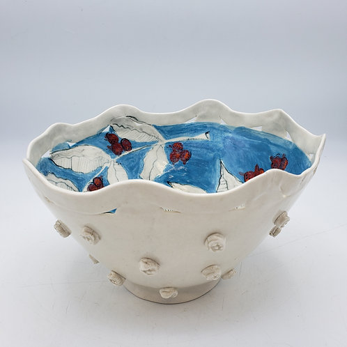 Signed Studio Art Red & Blue Pottery Bowl
