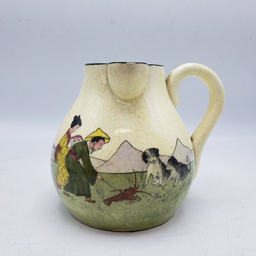 Vintage Handpainted Austrian Pitcher with Dogs & Lobster