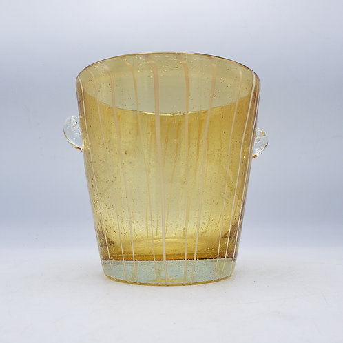 Vintage  Venini by Disaronno Murano Glass Ice Bucket - Yellow with White Stripes
