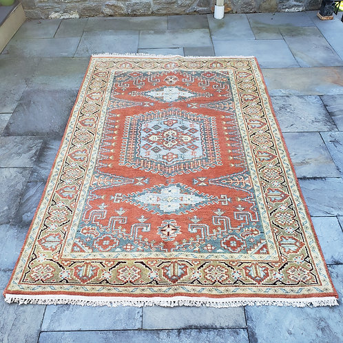 """Hand Knotted 100% Wool Peach & Yellow Rug with Light Blue Medallion~ 5'1"""" x 7'9"""""""