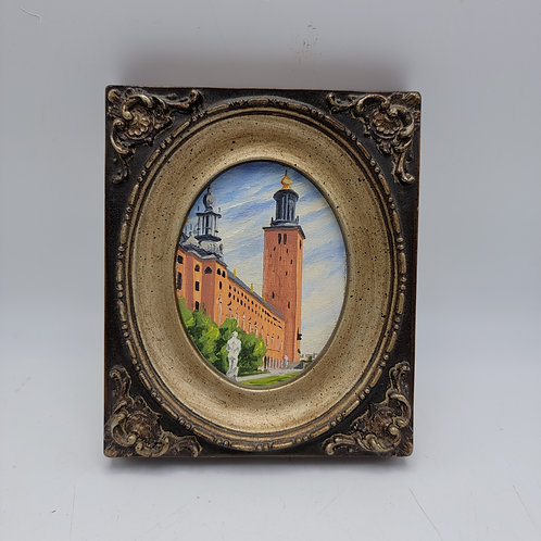 Vintage Minatare Watercolor Painting of Building in Sweden