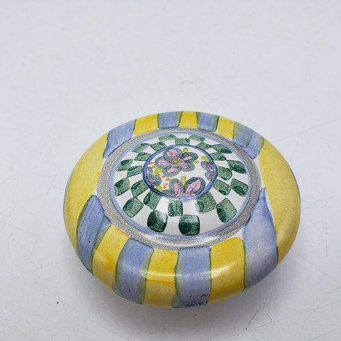 Hand painted MacKenzie Childs Porcelain Knob Yellow & Blue Striped 2002