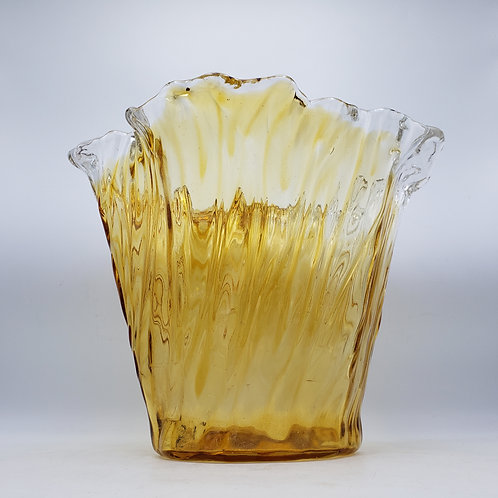 Large Amber Glass Bowl with Ruffled Rim