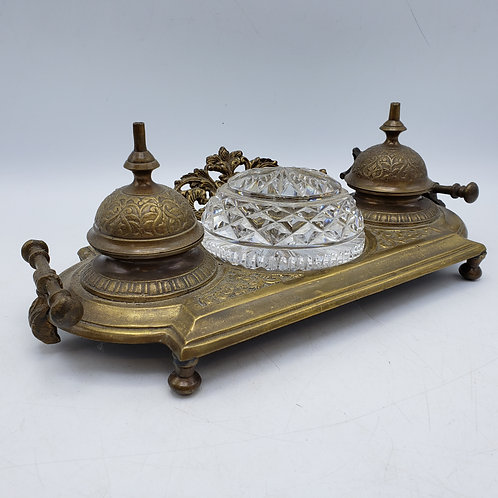 Vintage Brass Double Inkwell with Crystal