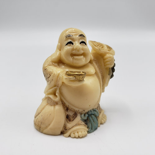 Vintage Faux Ivory (Resin) Carved Netsuke Buddha