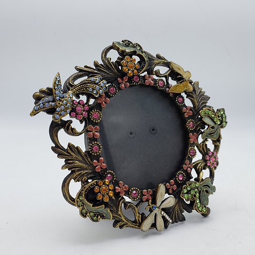 """Small Round Jeweled Frame with Insects ~ 2"""" x 3"""""""