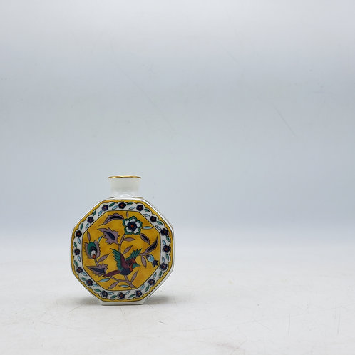 Miniature Yellow Octagon Vase with Flowers