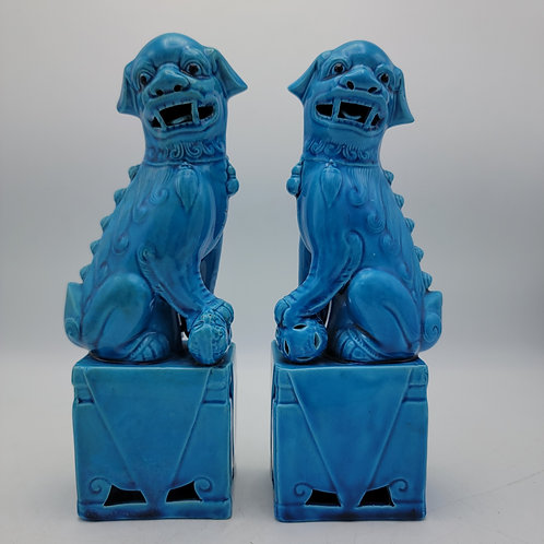Pair of Turquoise Blue Decorator Foo Dogs