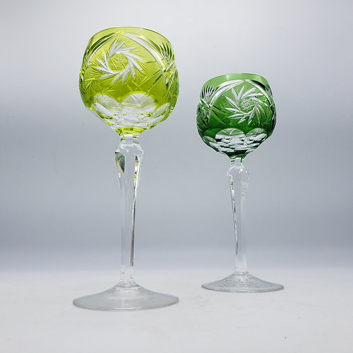 Pair of Green Bohemian Cut to Clear Wine Glasses