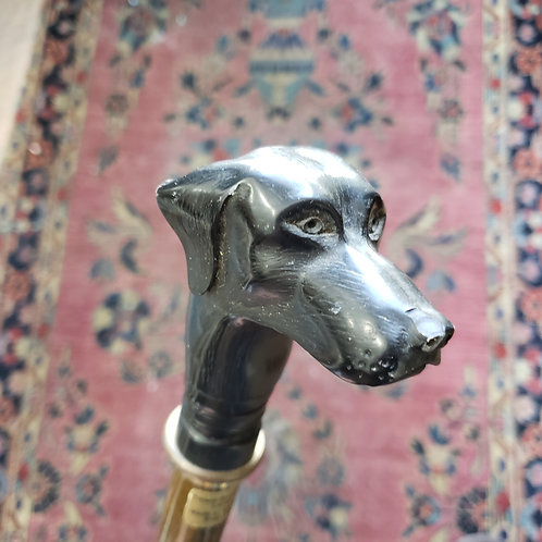 Stunning Signed Vintage Cane with Carved Dog's Head Handle
