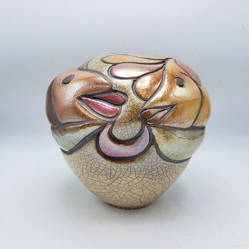 Signed Art Pottery Kissing Fish Vase by Randy Brodnax