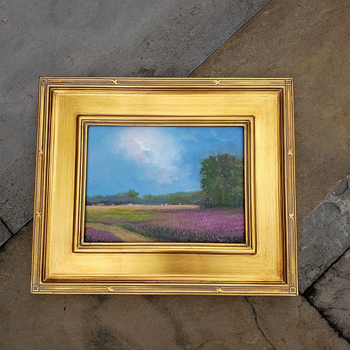 Signed Original Painting on Board of Purple Flower Field with Plein Air Frame