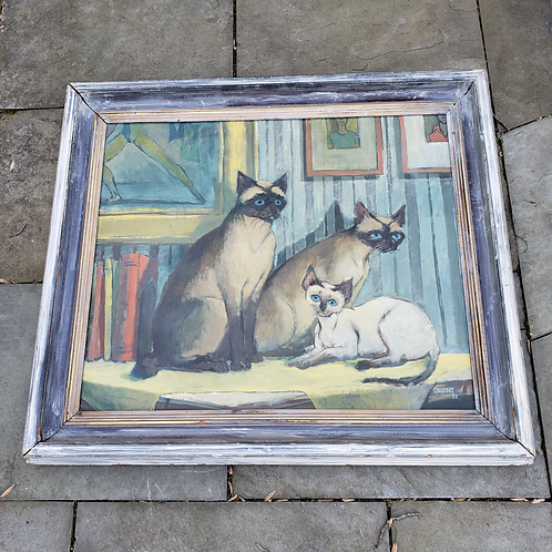 """Signed Cat Artwork by Childers 53' Entitled """"Family Group"""""""