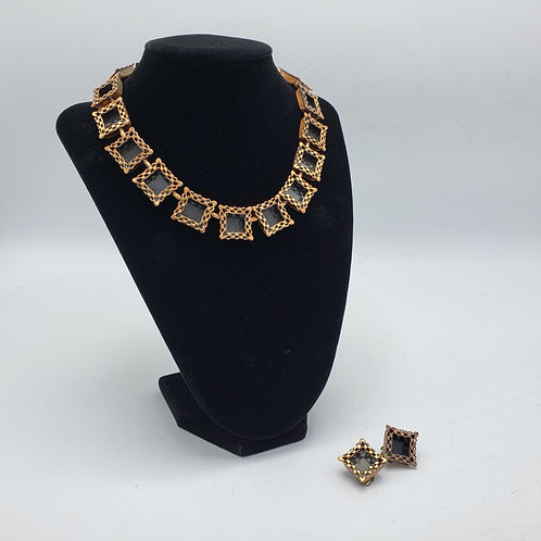 Vintage Copper Renoir Set with Clip on Earrings & Necklace