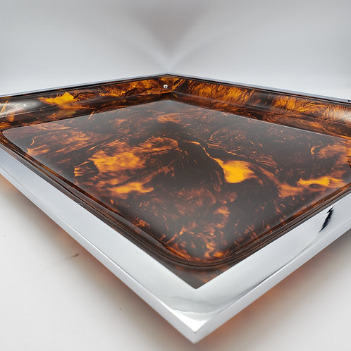 Large Vintage Faux Tortoise Shell and Chrome Serving Tray