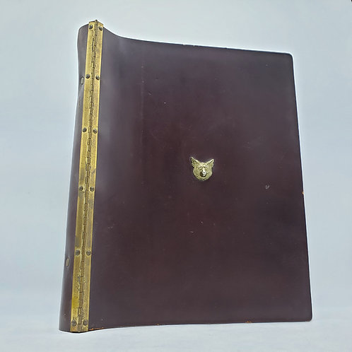 Leather Binder with Brass Fox Head Accent - Fox Hunting Log Book