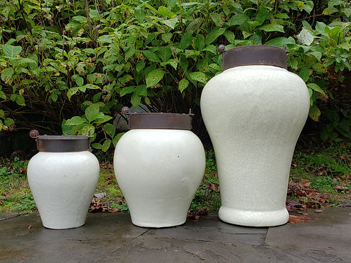 Set of 3 Mexican Pottery Chocolate Jars with Iron Lids