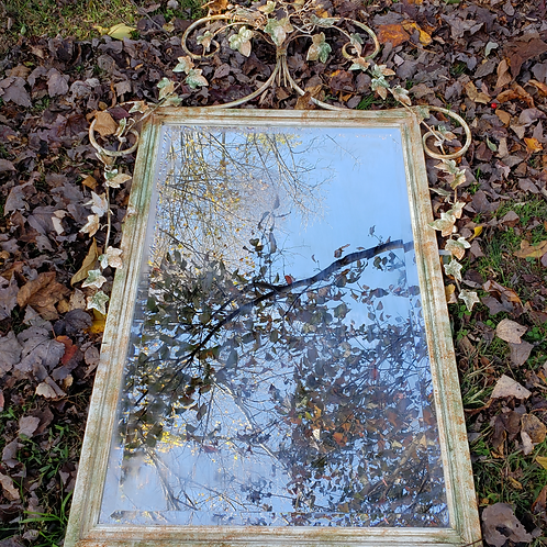 Vintage Italian Tole Mirror with Leaves and Flowers - Beveled Glass