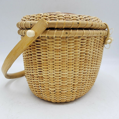 Vintage Hong Kong Woven Nantucket Basket w/ Faux Scrimshaw Whale Carving