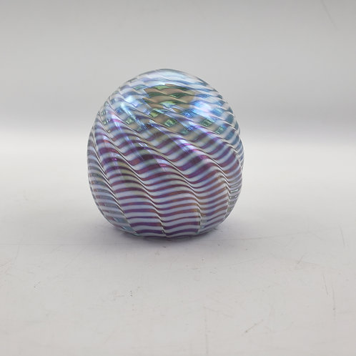 Signed Iridescent Blue & Purple Striped Paperweight