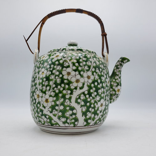 Japanese Green Floral Porcelain Teapot with Strainer