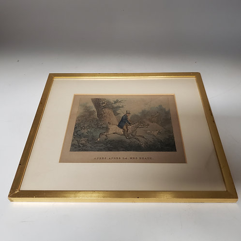 Vintage Artwork of Fox Hunting by by Horace Vernet, 1789-1863