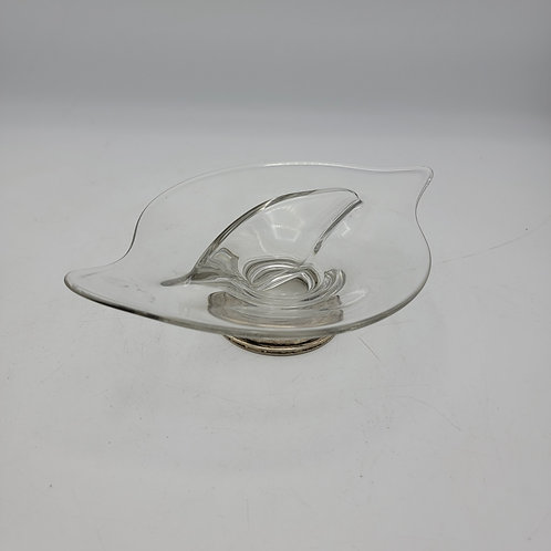 Vintage Glass & Silver Divided Dish / Bowl