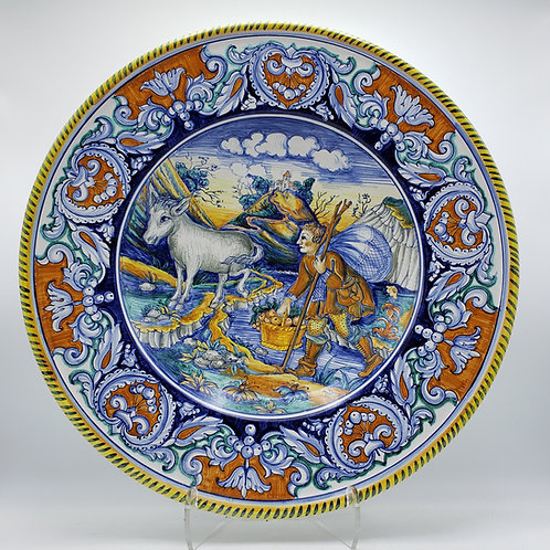 Very Large Deruta Round Hand Painted Porcelain Charger