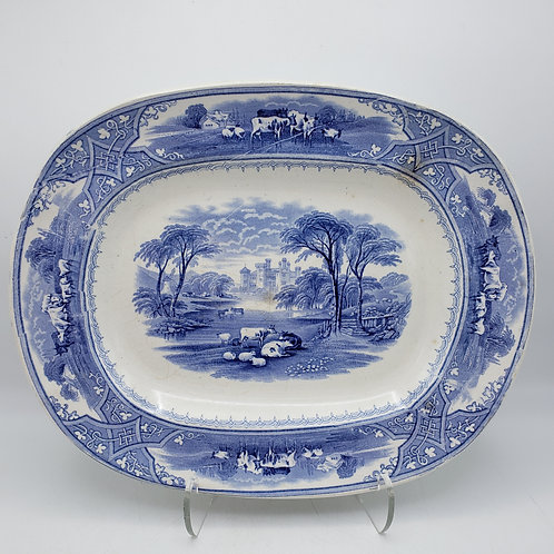Vintage Blue & White Country Scene with Cows Platter by L & C