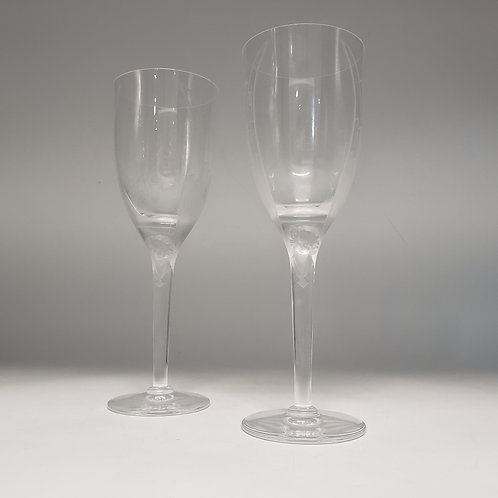 """Pair of Lalique Winged Angel """"Ange"""" Champagne Flutes"""