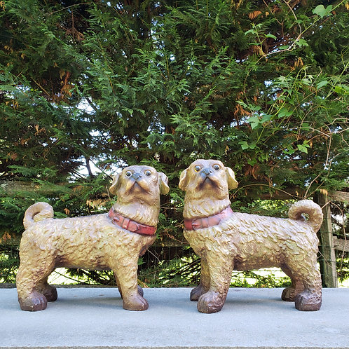 Pair of Resin Dog Sculptures - Staffordshire Style