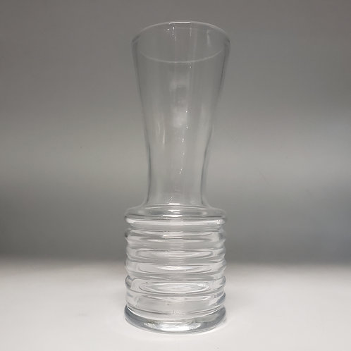 Tall Clear Crystal Vase with Ribbed Base