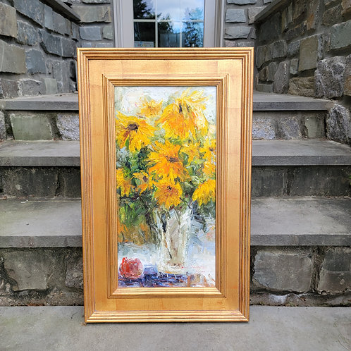 Beautiful Impressionist Oil Painting of Flowers in Plein Air Frame