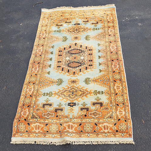 """100% Wool Hand Knotted Yellow & Light Blue Rug, 61"""" x 35"""""""