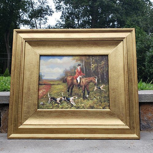 Fox Hunting Painting on Canvas in Gold Gilt Frame