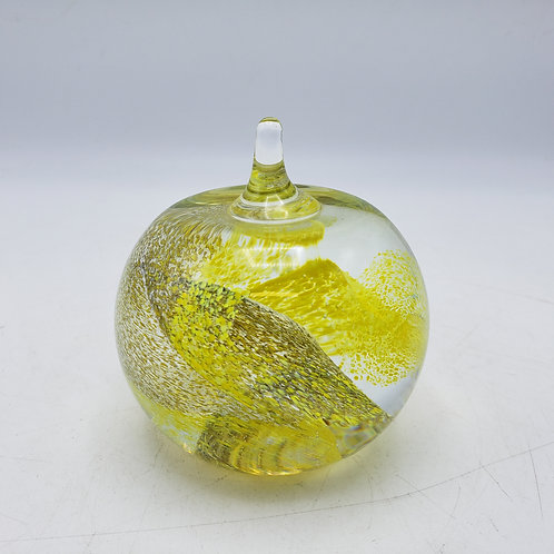 """Vintage Caithness """"Apple"""" Glass Paperweight - Yellow"""